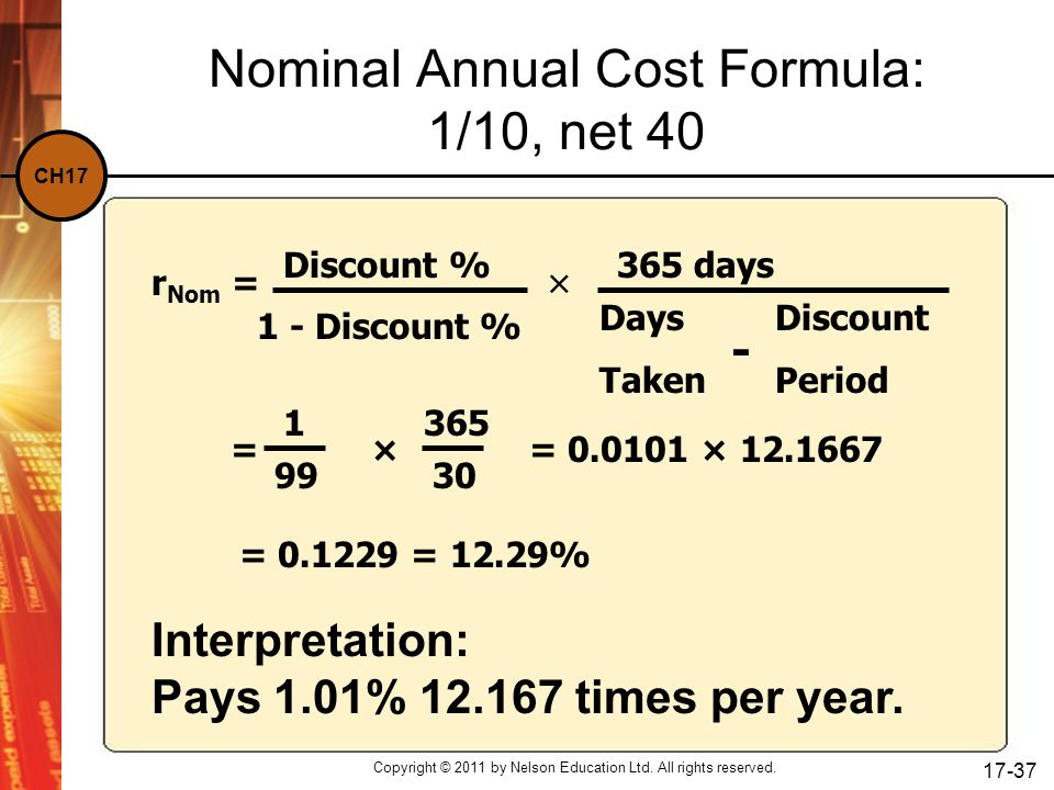 Nominal Annual Cost Formula: 1/10, net 40