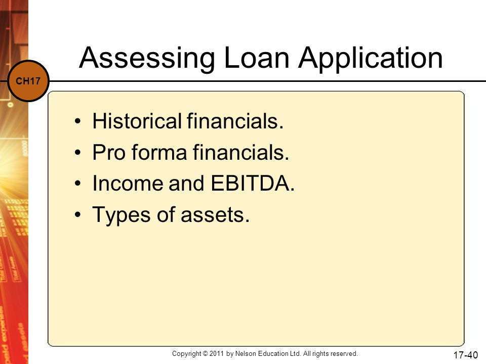 Assessing Loan Application