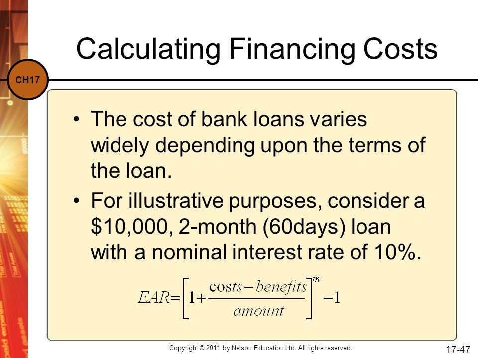 Calculating Financing Costs