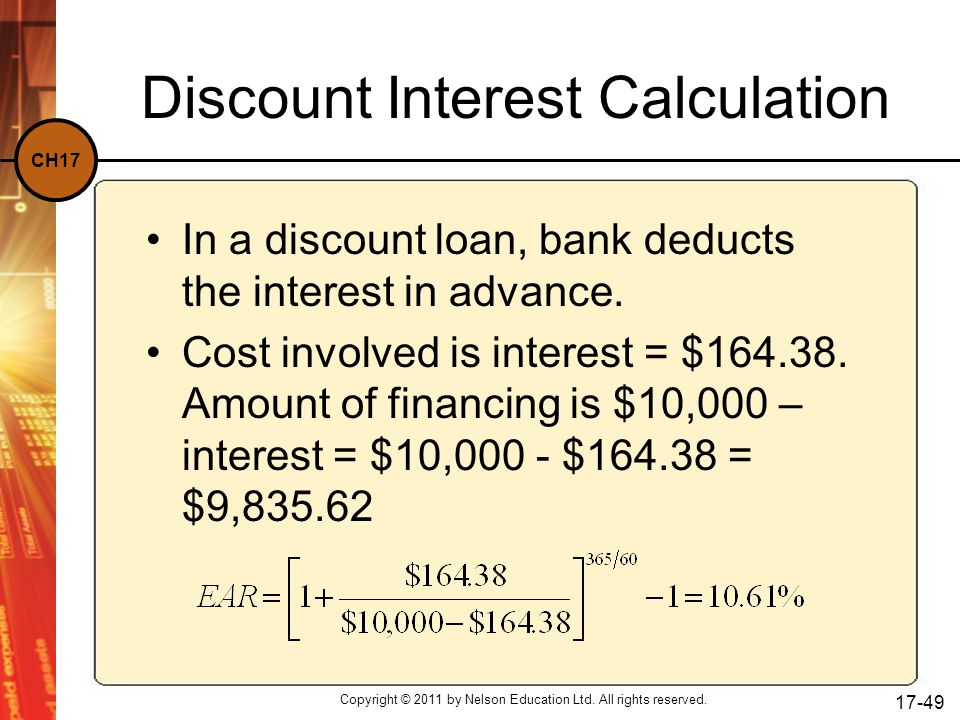 Discount Interest Calculation