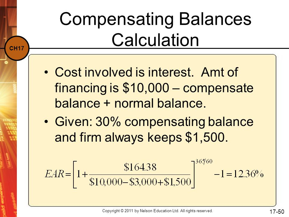 Compensating Balances Calculation