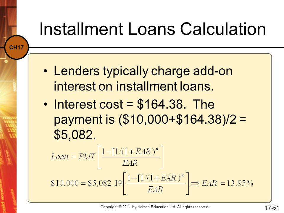 Installment Loans Calculation