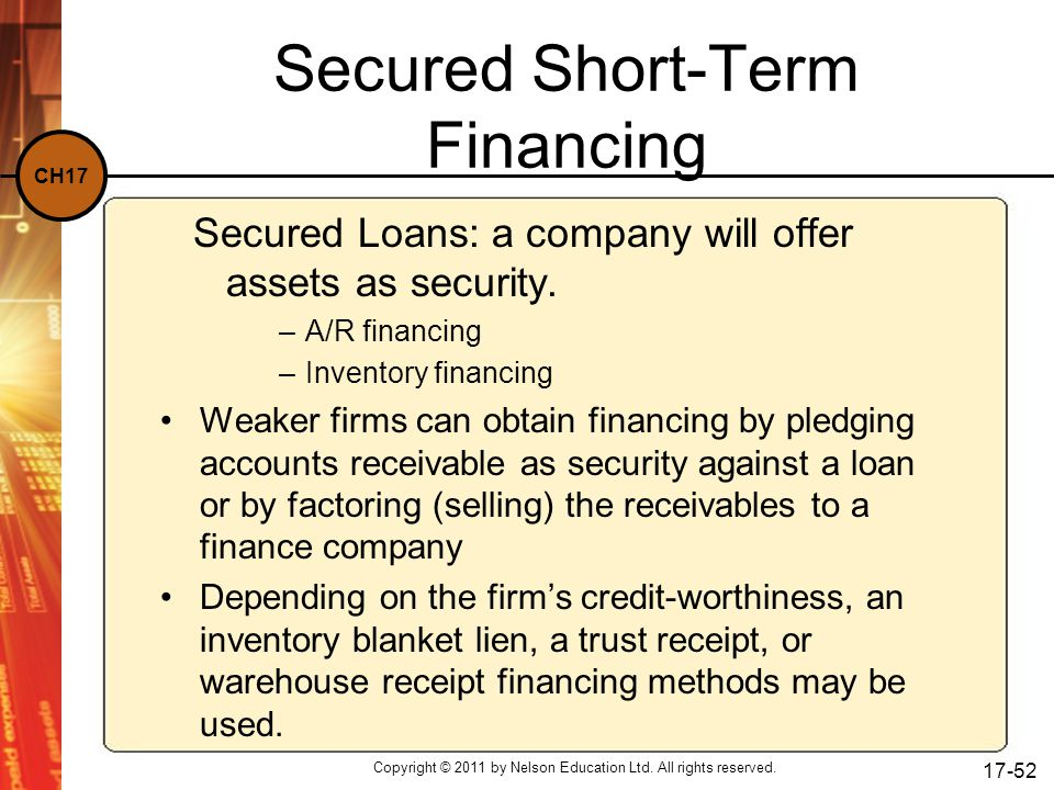 Secured Short-Term Financing