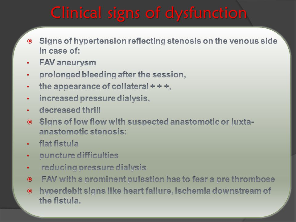 Clinical signs of dysfunction