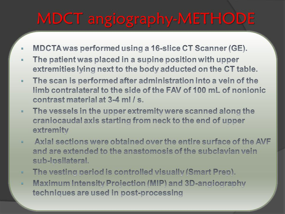 MDCT angiography-METHODE