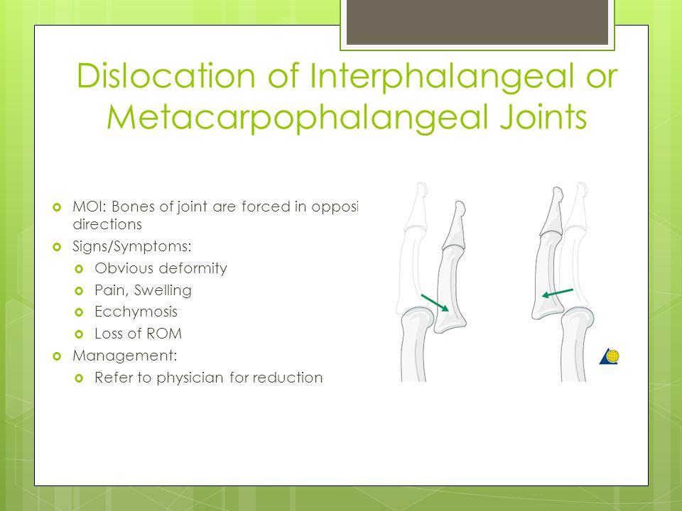 Dislocation of Interphalangeal or Metacarpophalangeal Joints