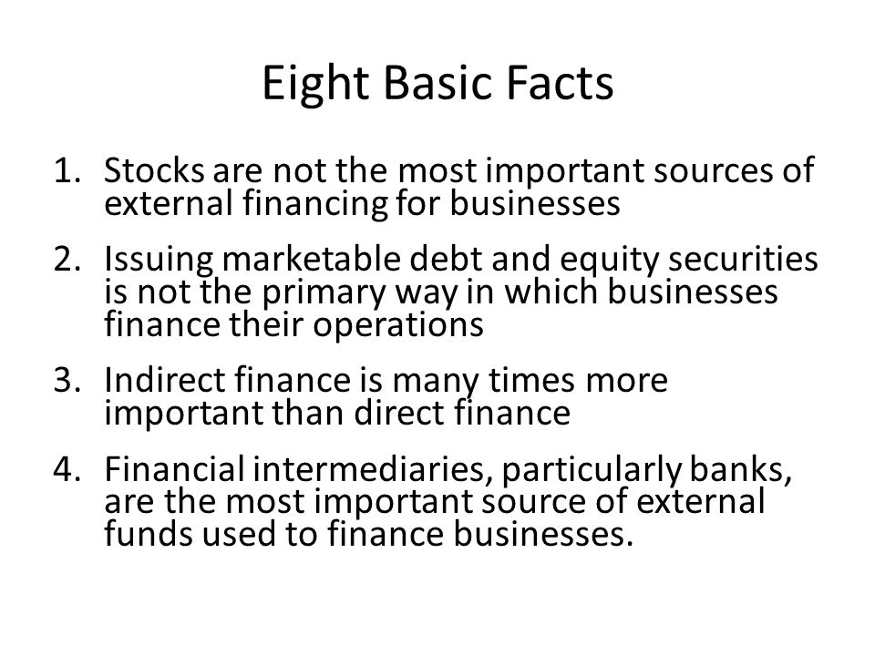 Eight Basic Facts Stocks are not the most important sources of external financing for businesses.