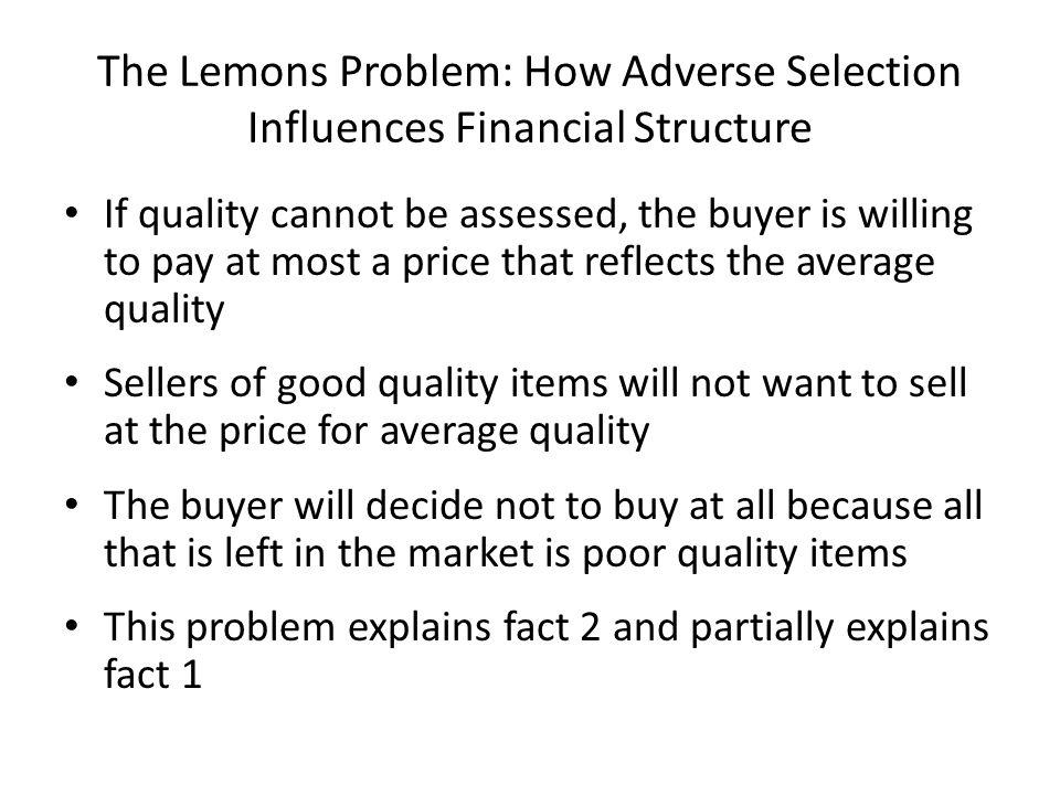 The Lemons Problem: How Adverse Selection Influences Financial Structure