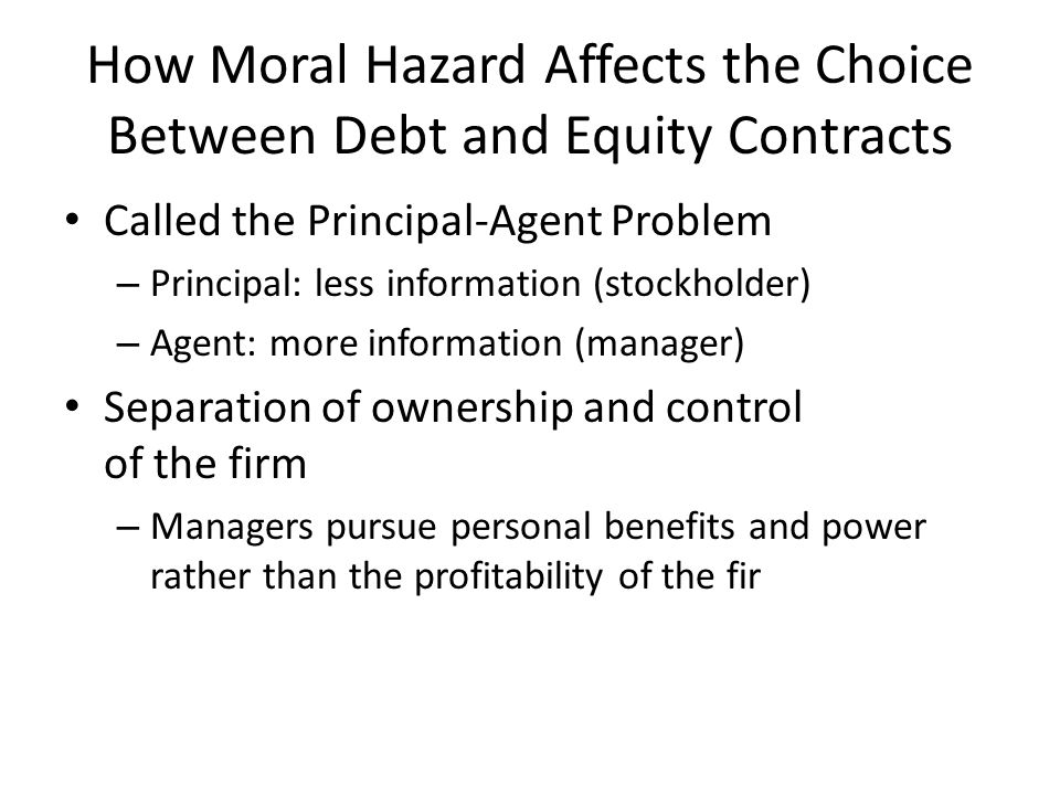 How Moral Hazard Affects the Choice Between Debt and Equity Contracts