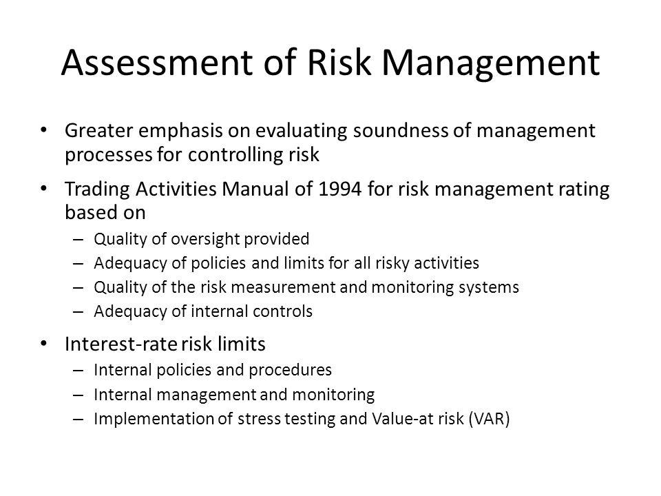 Assessment of Risk Management