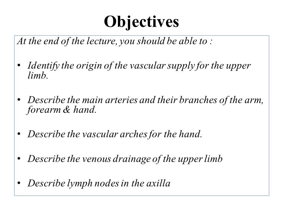 Objectives At the end of the lecture, you should be able to :