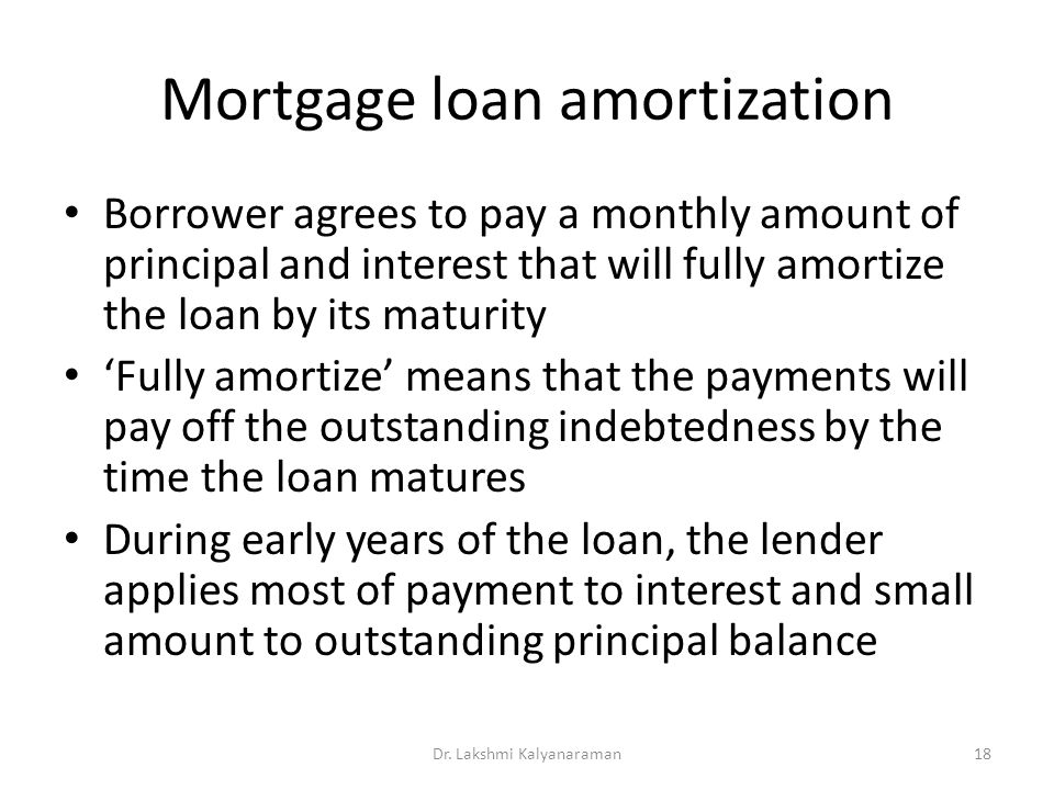Mortgage loan amortization