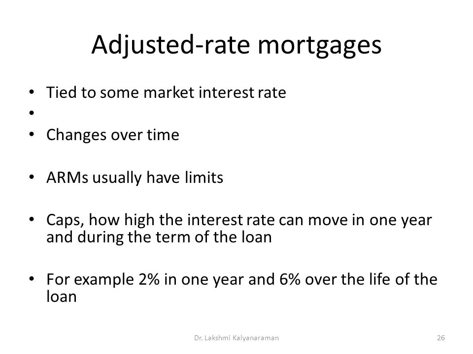 Adjusted-rate mortgages