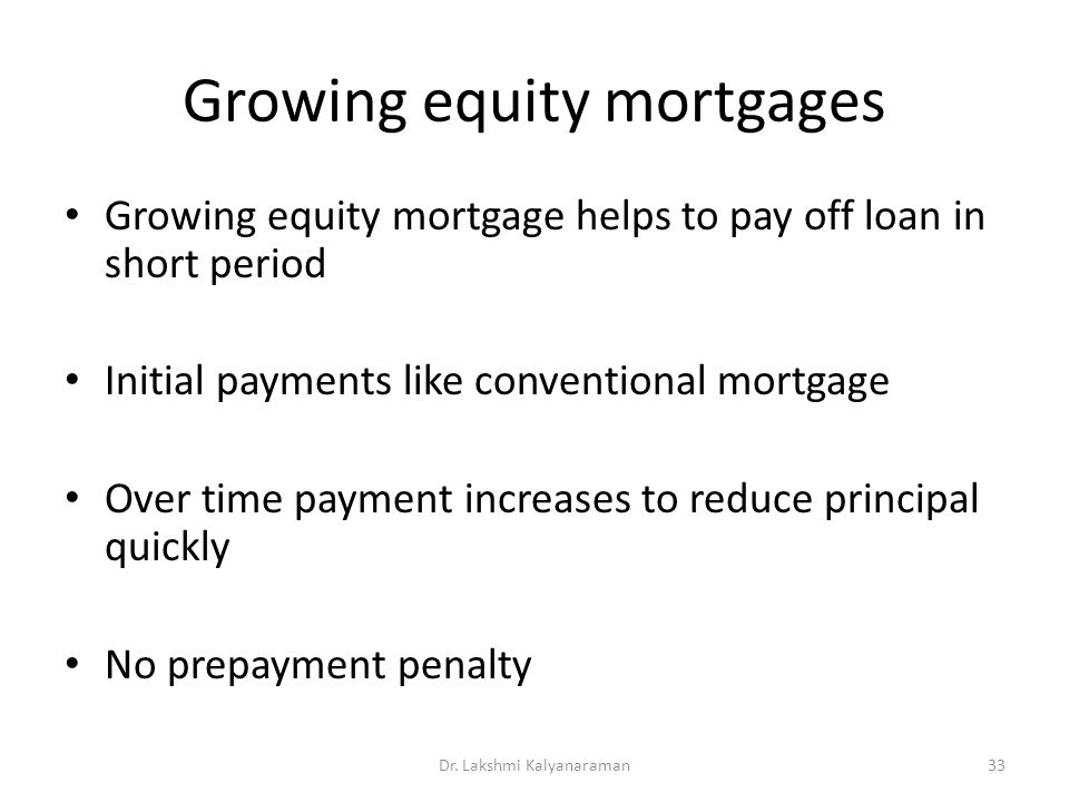 Growing equity mortgages