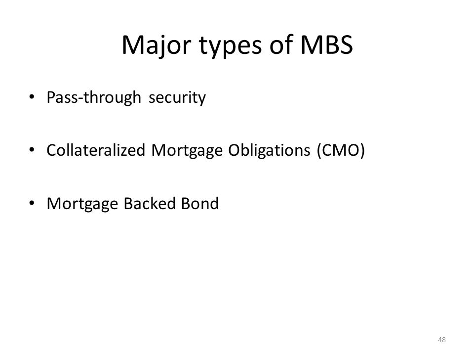 Major types of MBS Pass-through security