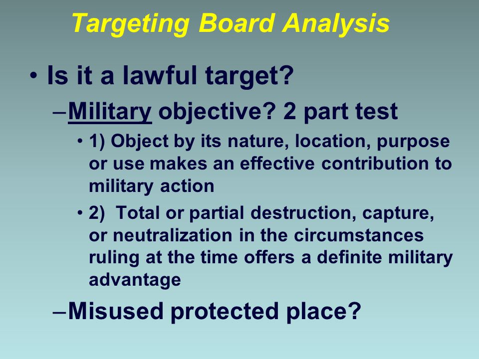 Targeting Board Analysis