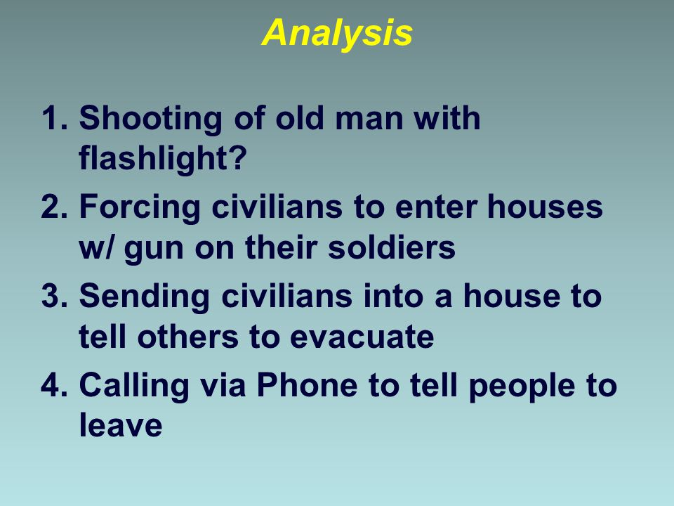 Analysis Shooting of old man with flashlight