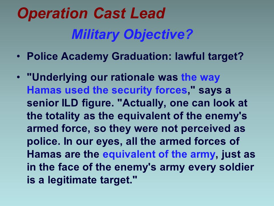 Operation Cast Lead Military Objective
