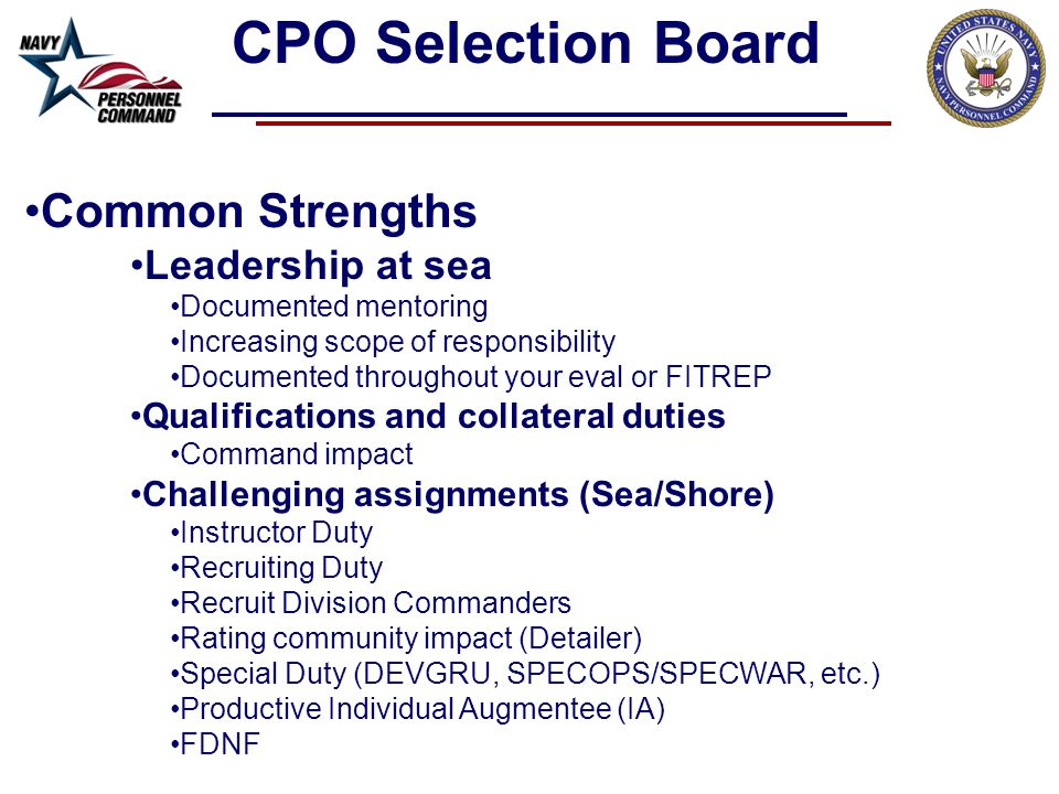 CPO Selection Board Common Strengths Leadership at sea