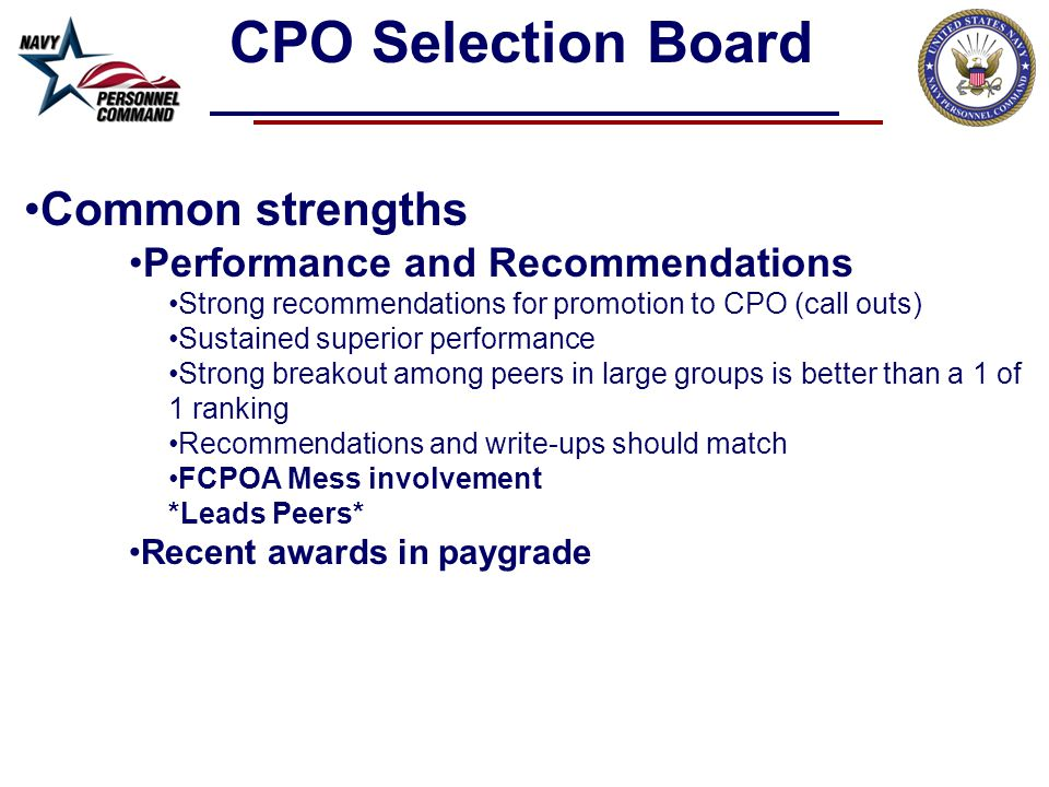 CPO Selection Board Common strengths Performance and Recommendations
