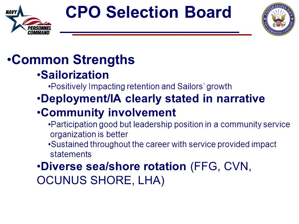 CPO Selection Board Common Strengths Sailorization