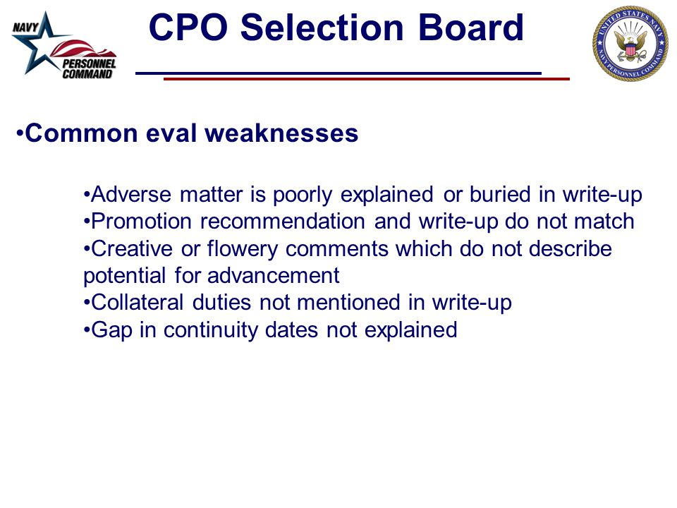 CPO Selection Board Common eval weaknesses