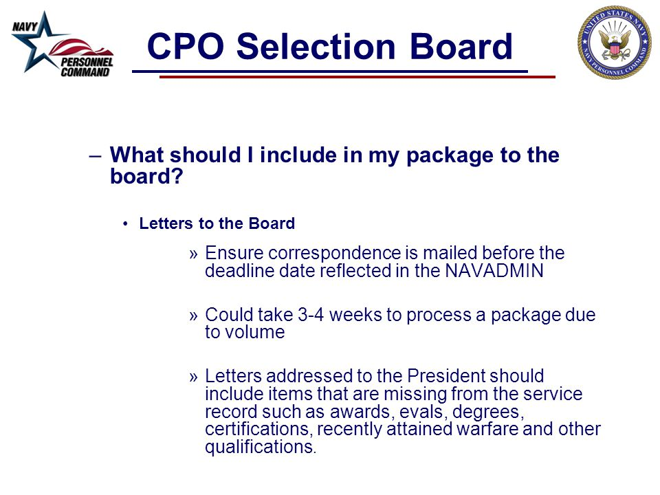 CPO Selection Board What should I include in my package to the board