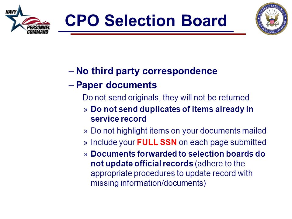 CPO Selection Board No third party correspondence Paper documents