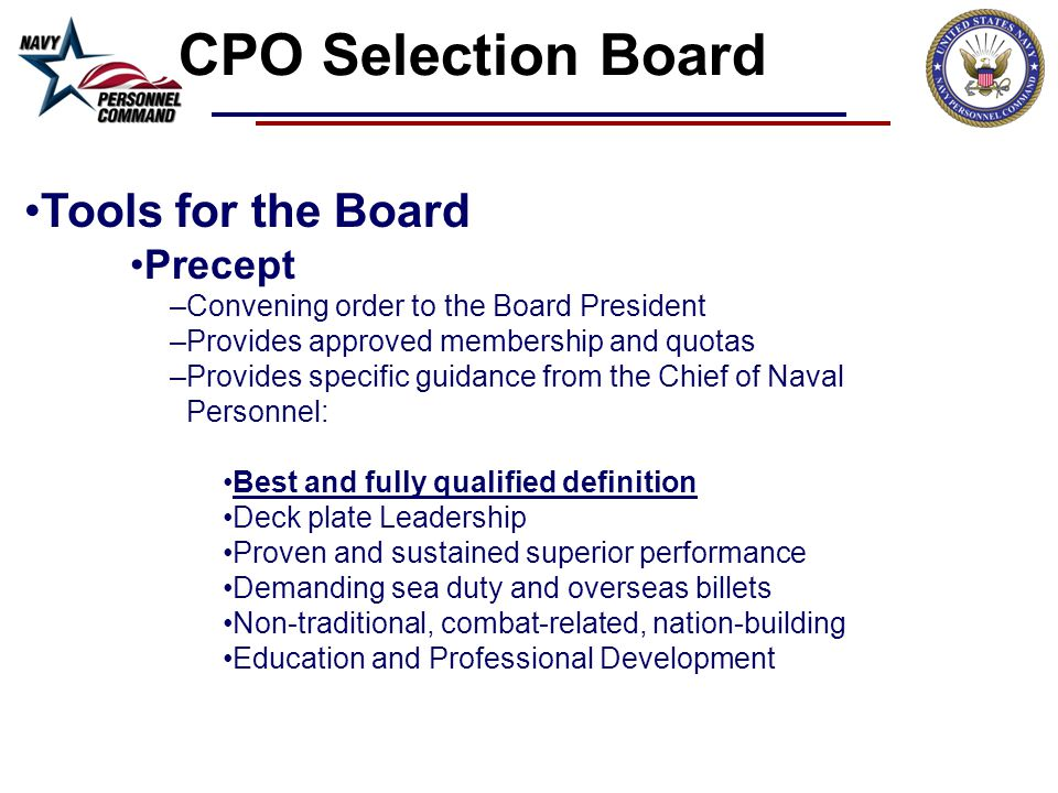 CPO Selection Board Tools for the Board Precept