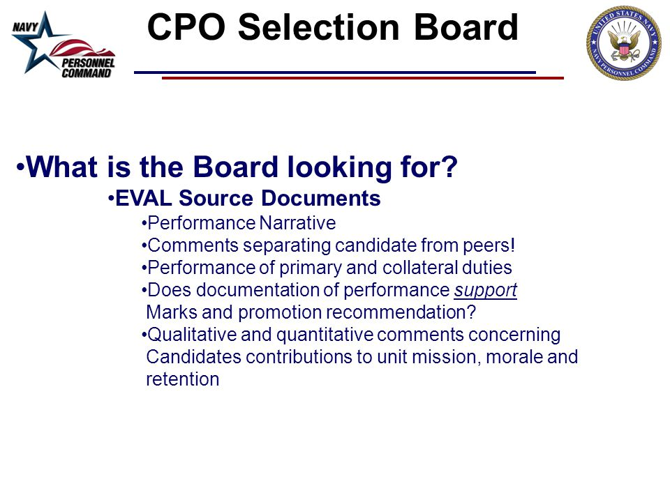 CPO Selection Board What is the Board looking for