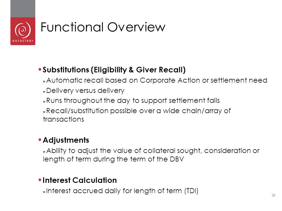 Functional Overview Substitutions (Eligibility & Giver Recall)