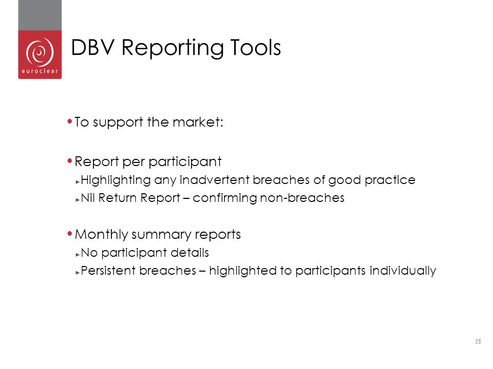 DBV Reporting Tools To support the market: Report per participant