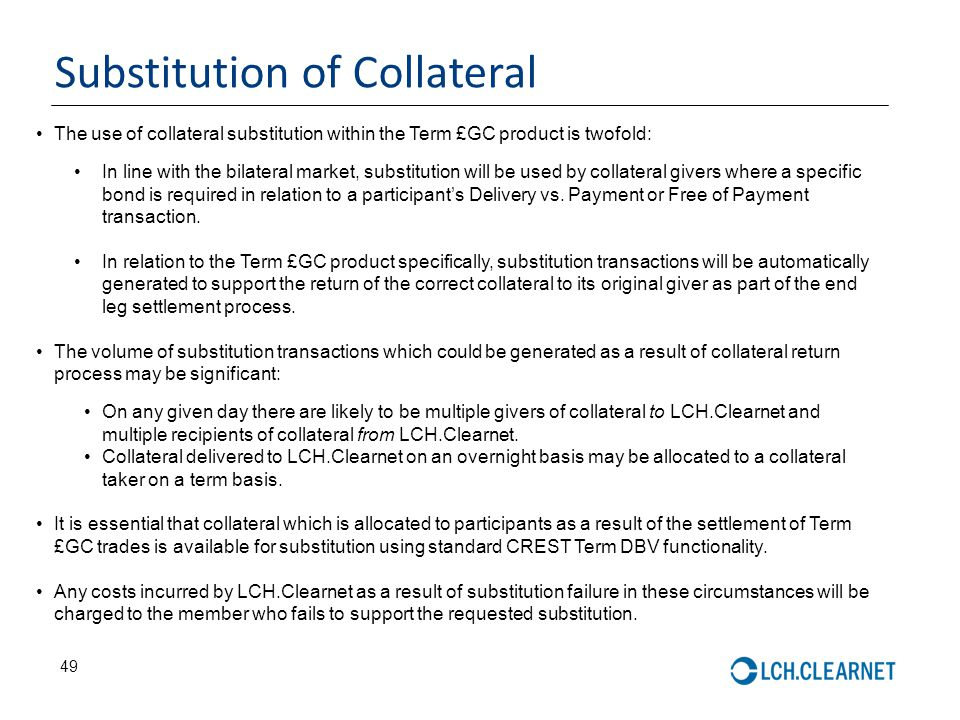 Substitution of Collateral