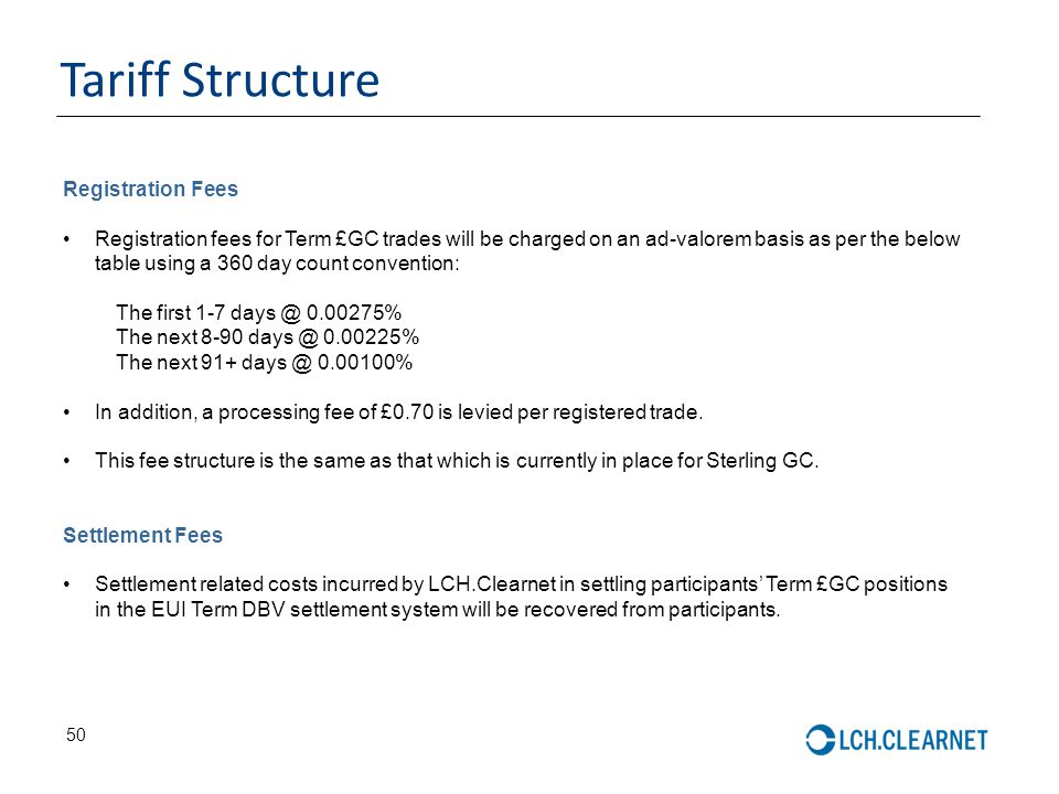 Tariff Structure Registration Fees