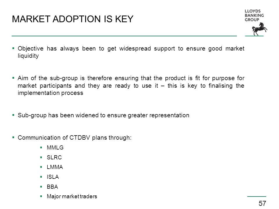 MARKET ADOPTION IS KEY Objective has always been to get widespread support to ensure good market liquidity.