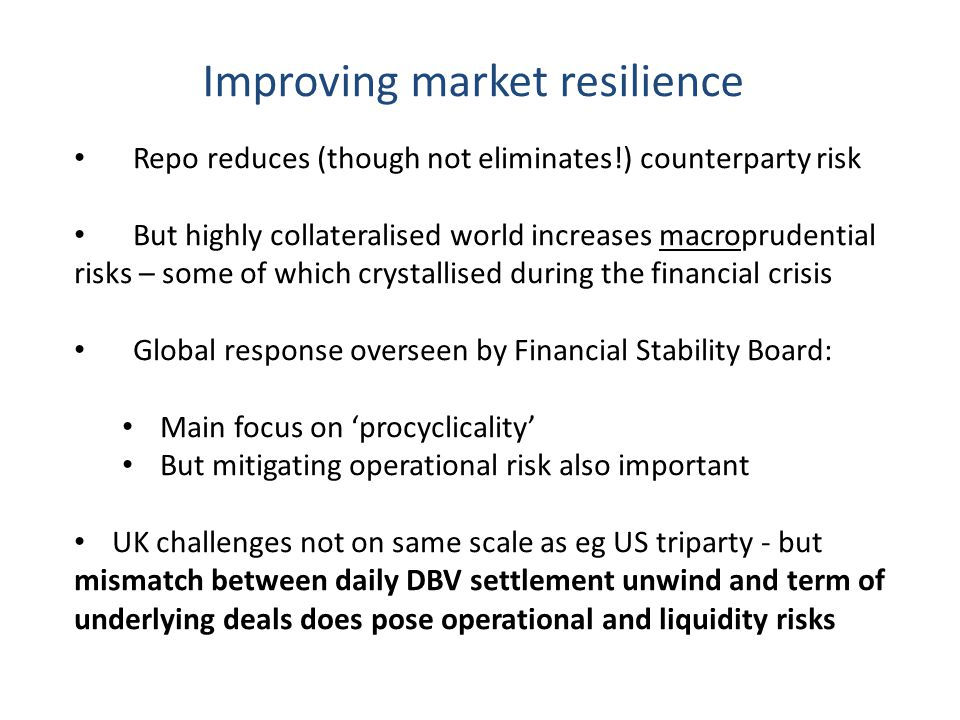 Improving market resilience