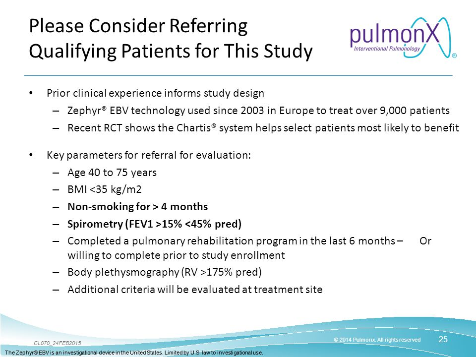 Please Consider Referring Qualifying Patients for This Study