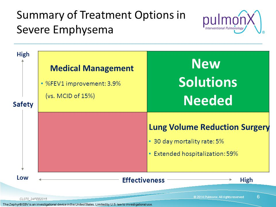 Summary of Treatment Options in Severe Emphysema