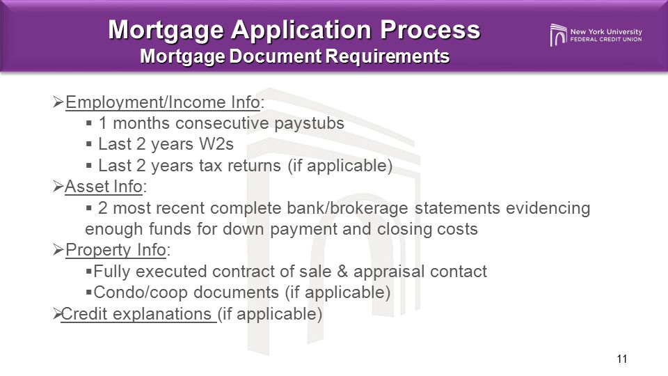 Mortgage Application Process Mortgage Document Requirements