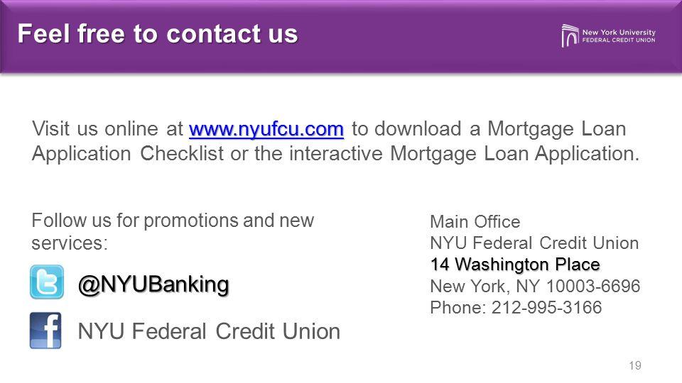 Feel free to contact us @NYUBanking NYU Federal Credit Union