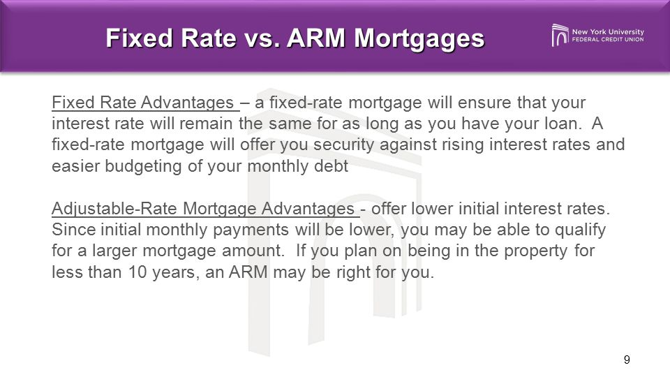 Fixed Rate vs. ARM Mortgages