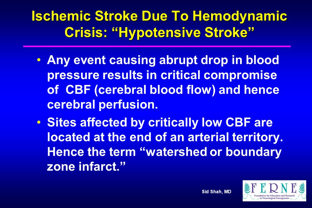 Ischemic Stroke Due To Hemodynamic Crisis: Hypotensive Stroke