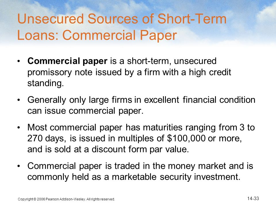 Unsecured Sources of Short-Term Loans: Commercial Paper
