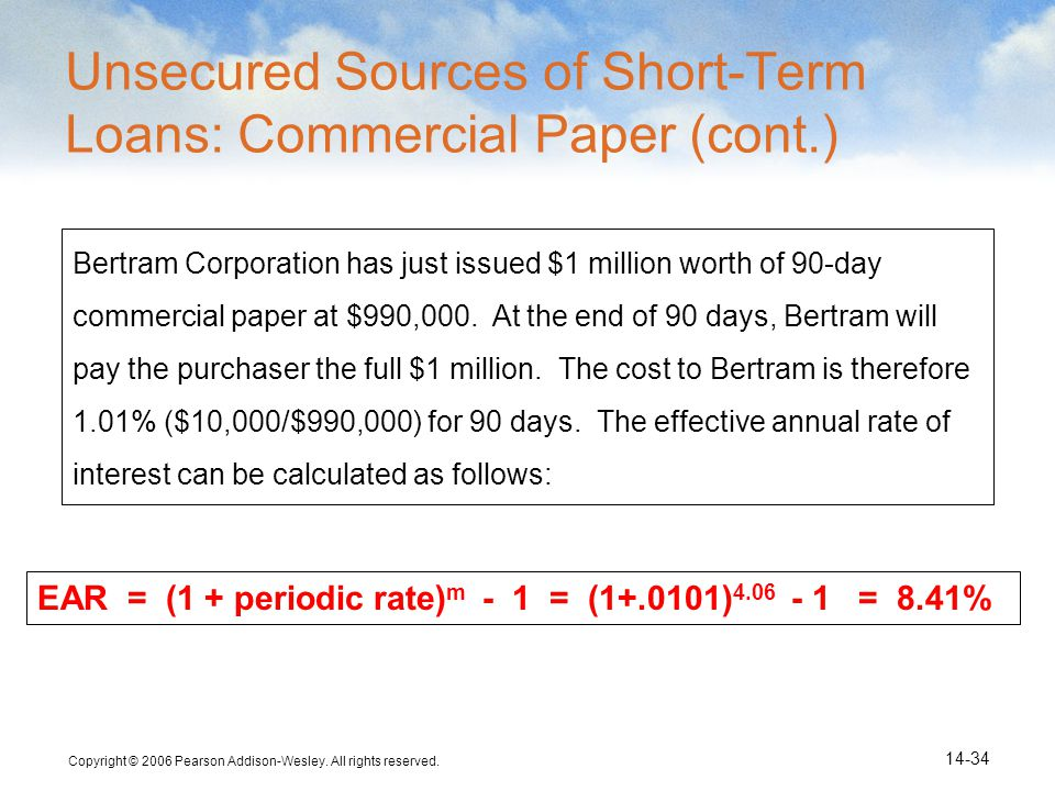 Unsecured Sources of Short-Term Loans: Commercial Paper (cont.)