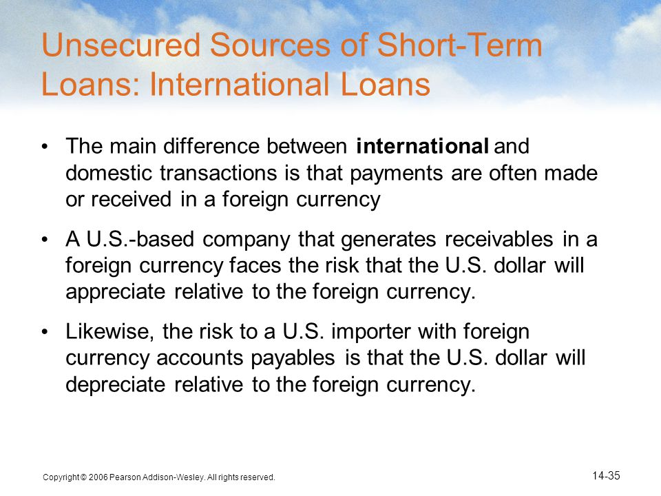 Unsecured Sources of Short-Term Loans: International Loans