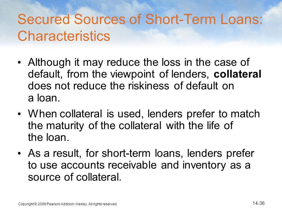 Secured Sources of Short-Term Loans: Characteristics