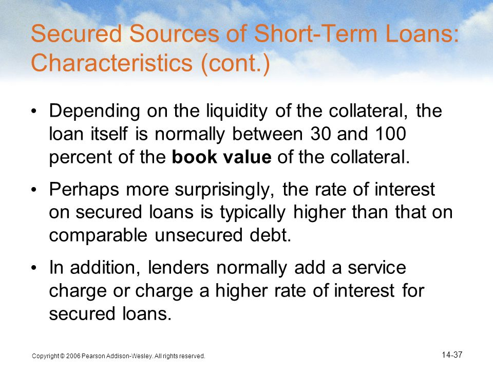 Secured Sources of Short-Term Loans: Characteristics (cont.)