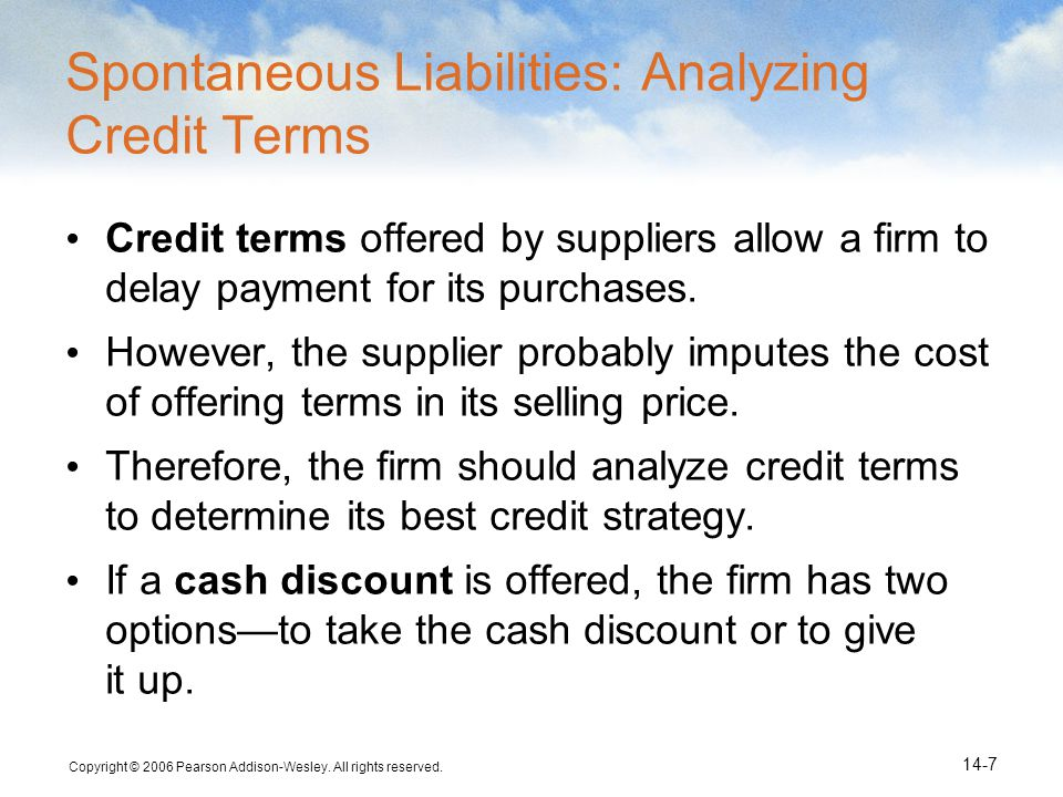 Spontaneous Liabilities: Analyzing Credit Terms