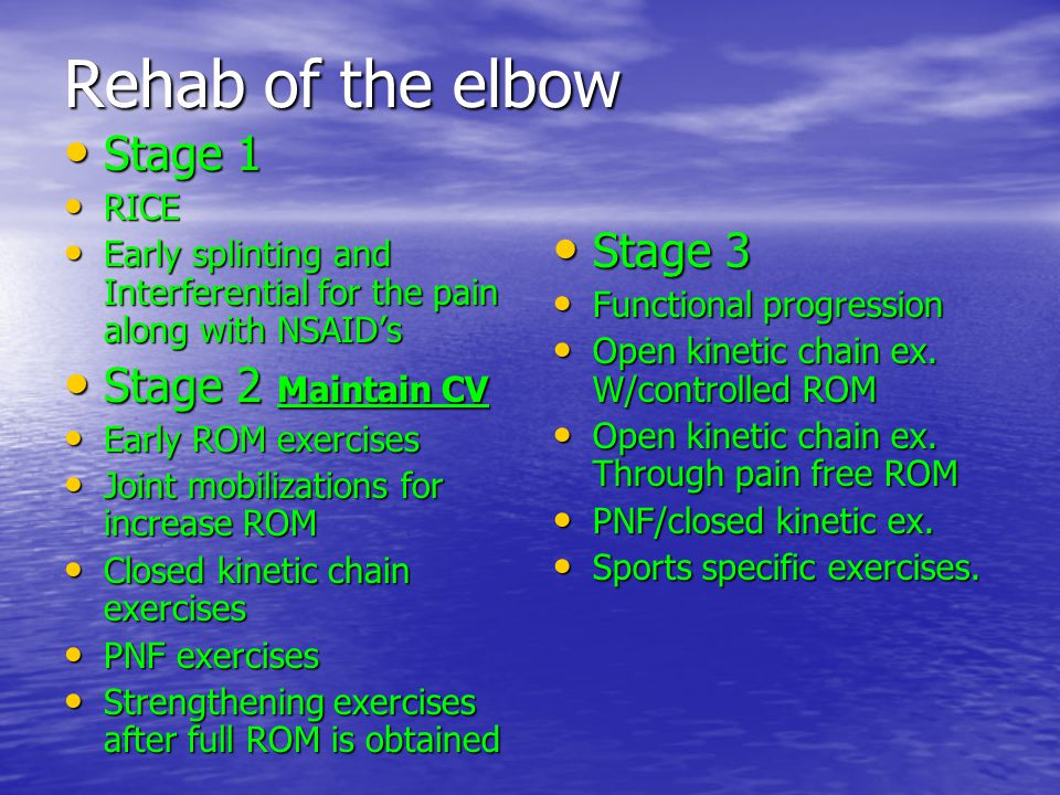 Rehab of the elbow Stage 1 Stage 3 Stage 2 Maintain CV RICE