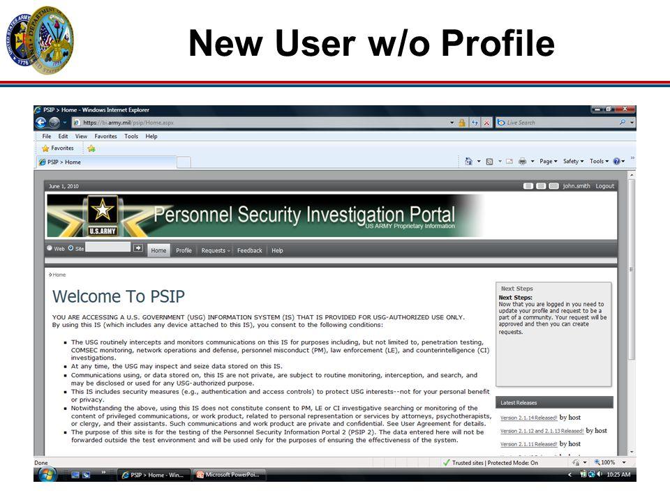 New User w/o Profile